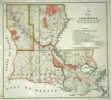 Antique map chart Map of Louisiana Representing the Several