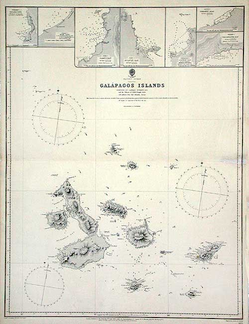 Antique map chart  Pacific Ocean Galapagos Islands Surveyed by