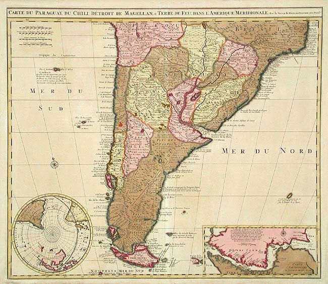 Antique Map Chart Carte Du Paraguay Du Chili Detroit