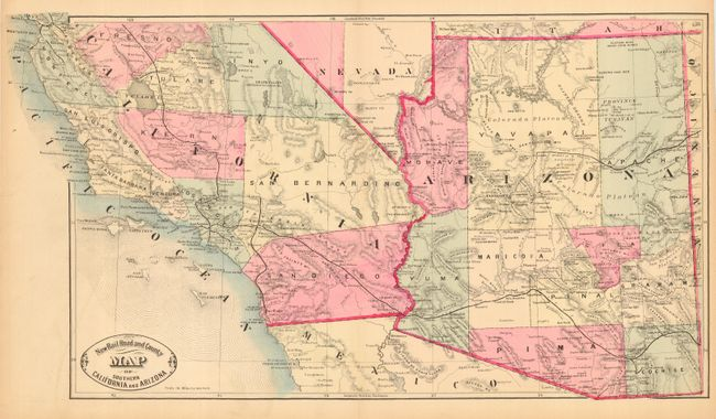 Antique Map Chart New Rail Road And County Map Of Southern - Az map roads