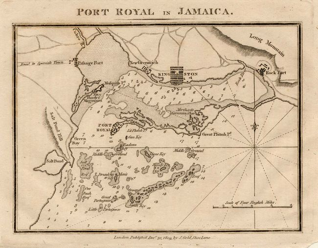 Antique map chart  Lot of 2 Port Royal in Jamaica and A Map