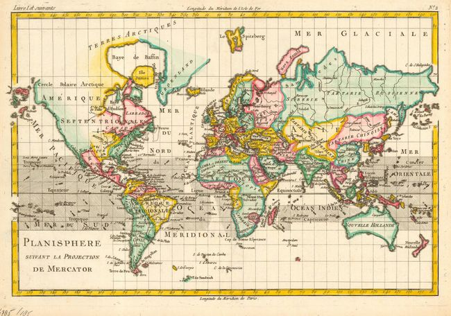 antique map chart planisphere suivant la projection de mercator. Black Bedroom Furniture Sets. Home Design Ideas