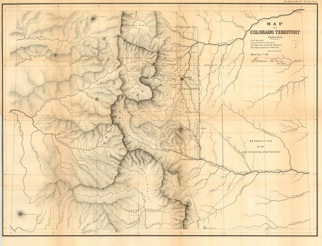Antique Map Chart  Map Of Colorado Territory