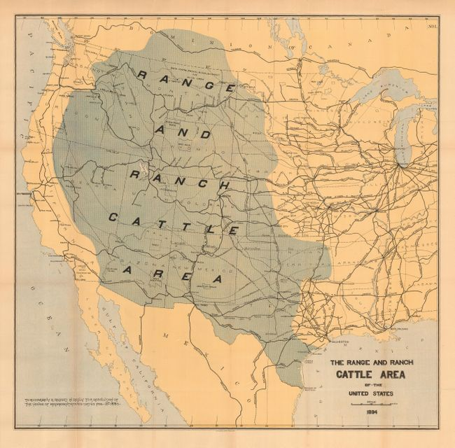 Antique Map Chart The Range And Ranch Cattle Area Of The United - Us map 1884