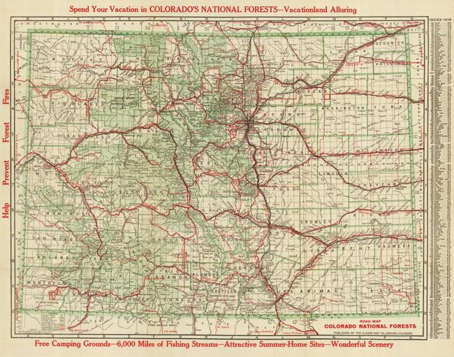 Antique Map Chart Road Map Colorado National Forests - Road map colorado
