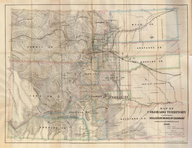 Antique Map Chart  Map Of Colorado Territory To