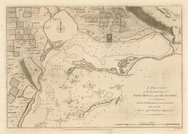 Antique map chart  A Draught of the Harbours of Port Royal and