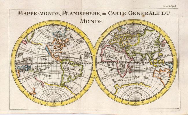 antique map chart mappe monde planisphere ou carte generale du monde. Black Bedroom Furniture Sets. Home Design Ideas