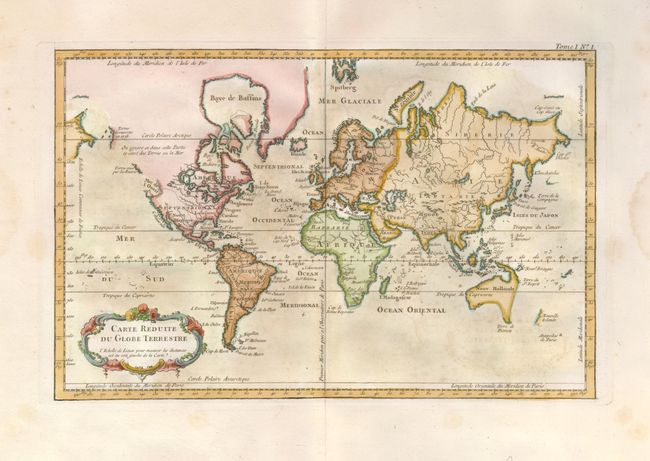 antique map chart carte reduite du globe terrestre. Black Bedroom Furniture Sets. Home Design Ideas
