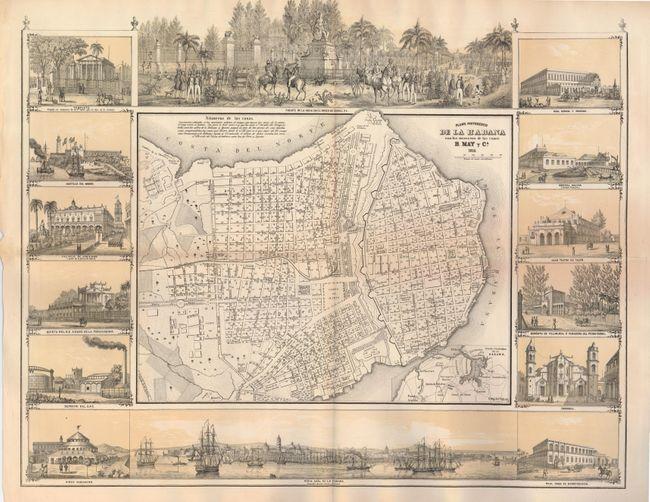 Antique map chart plano pintoresco de la habana con los - Plano de la casa ...