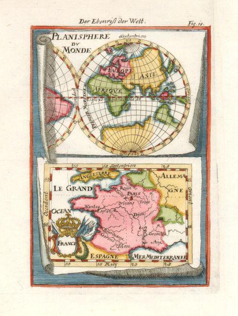 antique map chart planisphere du monde france. Black Bedroom Furniture Sets. Home Design Ideas
