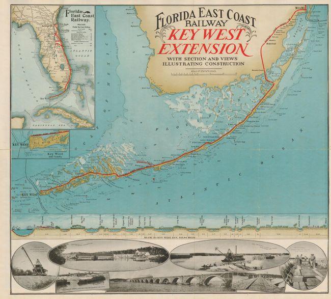 Antique Map Chart Florida East Coast Railway Key West Extension - Florida east coast map