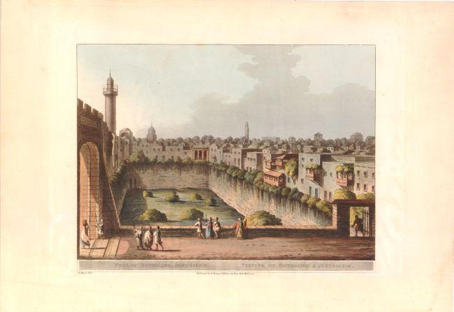 Antique map chart pool of bethesda jerusalem piscine for Piscine de bethesda