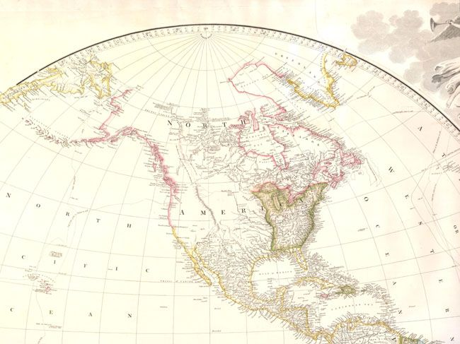 Old World Auctions Auction 140 Lot 33 Map Of The World On A - Us Map Globular Projection