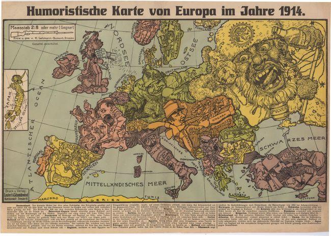 Humoristische Karte Von Europa 1914.Old World Auctions Auction 145 Lot 436 Humoristische
