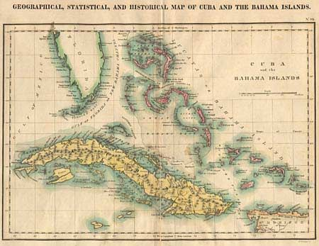 Old World Auctions Auction Lot Geographical - Vintage map of cuba