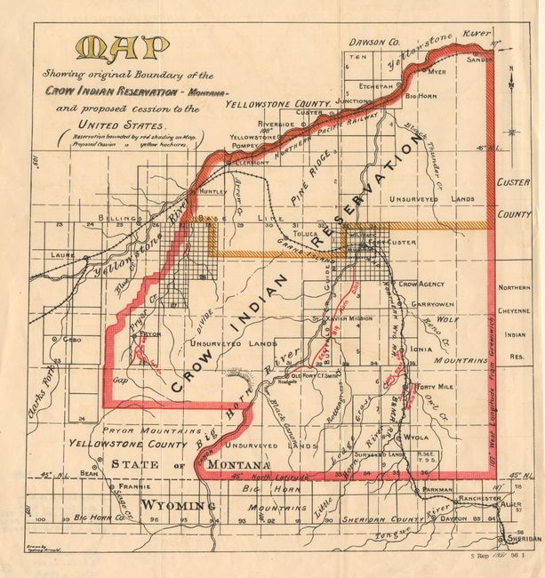 Crow Reservation Montana Map.Old World Auctions Auction 97 Lot 208 Map Showing Original