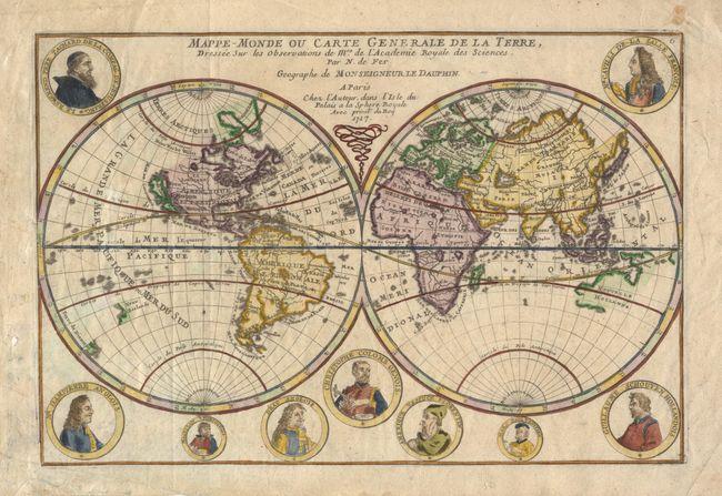 antique map chart mappe monde ou carte generale de laterre dressee sur les observations de. Black Bedroom Furniture Sets. Home Design Ideas
