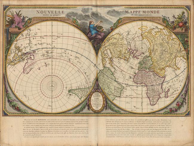 antique map chart nouvelle mappe monde dediee au. Black Bedroom Furniture Sets. Home Design Ideas